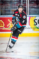 KELOWNA, CANADA - SEPTEMBER 24: Jack Cowell #8 of the Kelowna Rockets warms up with the puck against the Kamloops Blazers on September 24, 2016 at Prospera Place in Kelowna, British Columbia, Canada.  (Photo by Marissa Baecker/Shoot the Breeze)  *** Local Caption *** Jack Cowell;