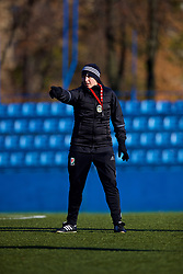 SAINT PETERSBURG, RUSSIA - Monday, October 23, 2017: Wales' manager Jayne Ludlow during a training session at the Petrovsky Minor Sport Arena ahead of the FIFA Women's World Cup 2019 Qualifying Group 1 match between Russia and Wales. (Pic by David Rawcliffe/Propaganda)