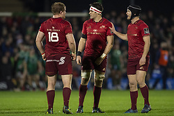 January 6, 2019 - Galway, Ireland - CJ Stander of Munster with Tyler Bleyendaal and Stephen Archer of Munster during the Guinness PRO14 match between Connacht Rugby and Munster Rugby at the Sportsground in Galway, Ireland on January 5, 2019  (Credit Image: © Andrew Surma/NurPhoto via ZUMA Press)