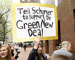April 30, 2019 - New York, NY, U.S - 'Tell Schumer to support the Green New Deal' sign at a rally organized by Sunrise NYC in support of the Green New Deal outside of Senator Chuck Schumer's (D-NY) New York City office on Third Avenue in New York. (Credit Image: © Michael Brochstein/ZUMA Wire)