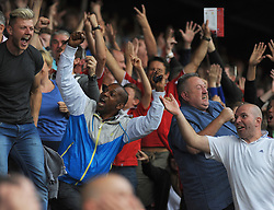 Bristol City Fan celebrates during the match. - Photo mandatory by-line: Nizaam Jones- Mobile: 07583 3878221 - 27/09/2014 - SPORT - Football - Bristol - Ashton Gate - Bristol City v MK Dons - Sports
