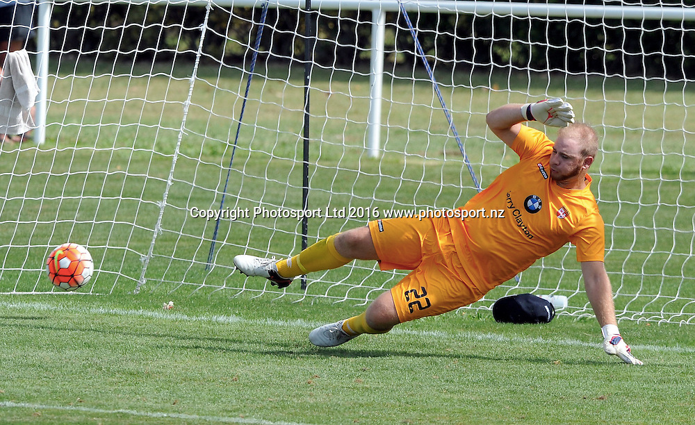 Waitakere United's Alex Gibson misses a Paul Ifill penalty shot in the ASB Premiership match, Hawkes Bay United v Waitakere United, Bluewater Stadium, Napier, Sunday, February 28, 2016. Copyright photo: Kerry Marshall / www.photosport.nz