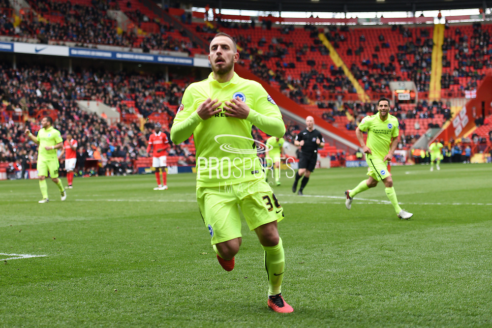 Brighton striker Jiri Skalak (38) scores a goal and celebrates during the Sky Bet Championship match between Charlton Athletic and Brighton and Hove Albion at The Valley, London, England on 23 April 2016. Photo by David Charbit.