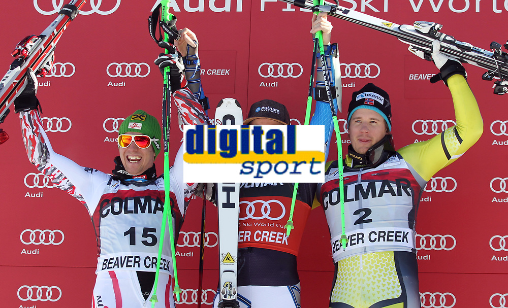 ALPINE SKIING - WORLD CUP 2011/2012 - BEAVER CREEK (USA) - 06/12/2011 - PHOTO : ALESSANDRO TROVATI / PENTAPHOTO / DPPI - PODIUM MEN GIANT SLALOM - Marcel Hirscher (Aut) / 2nd - Ted Ligety (Usa) / WINNER - Kjetil Jansrud (Nor)  / 3rd