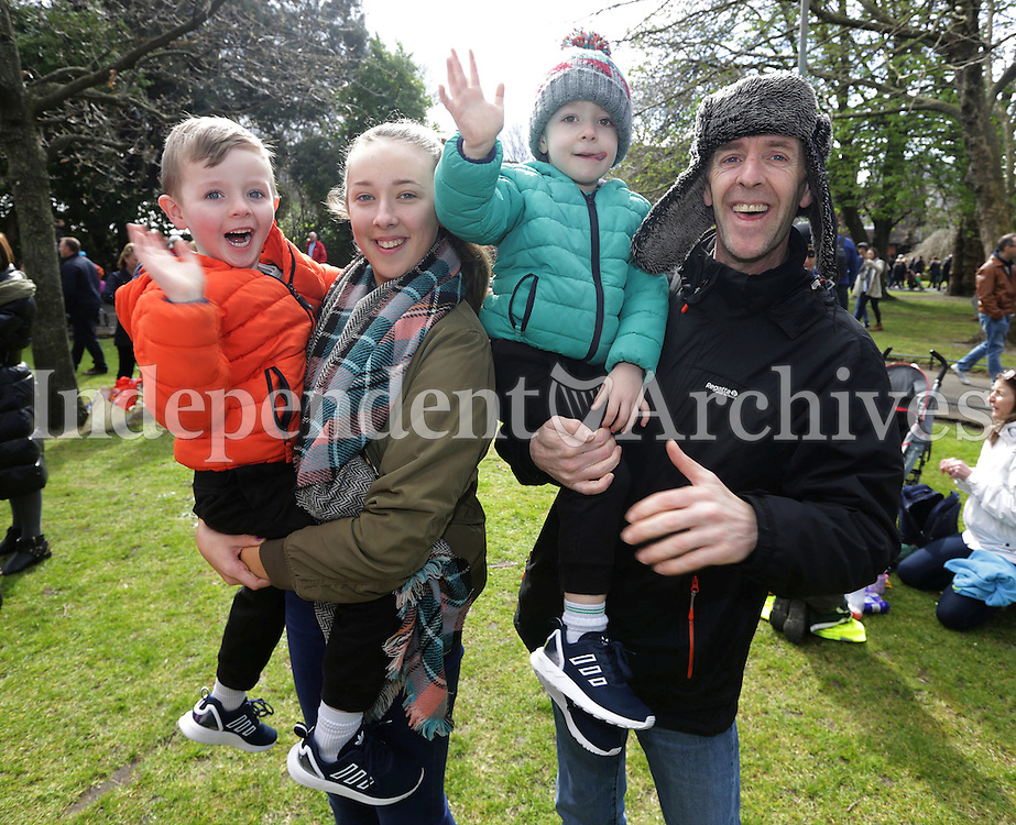 Anthony McDonnell, from Finglas with his kids, from left, Alfie, 5, Robin, 14, and Luis, 4, in St Stephens green, Dublin as part of RTE's reflecting the rising celebrations. Picture credit; Damien Eagers 28/3/2016