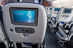 © London News Pictures. 04/07/2013 . London, UK.  Television screens on board  the new British Airways AIRBUS A380 superjumbo which arrived at Heathrow Airport on July 4, 2013. It was the first time British Airlines have taken delivery of the new plane, making British Airways the first European airline to operate both the 787 and A380. Photo credit : Ben Cawthra/