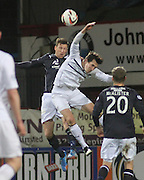 Iain Davidson oujumps Grant Anderson- Dundee v Raith Rovers - SPFL Championship at Dens Park<br /> <br />  - &copy; David Young - www.davidyoungphoto.co.uk - email: davidyoungphoto@gmail.com
