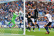 Bolton Wanderers keeper Mark Howard (33) is stranded as Leeds United Kalvin Phillips (23) scores from the corner during the EFL Sky Bet Championship match between Bolton Wanderers and Leeds United at the Macron Stadium, Bolton, England on 6 August 2017. Photo by Craig Galloway.