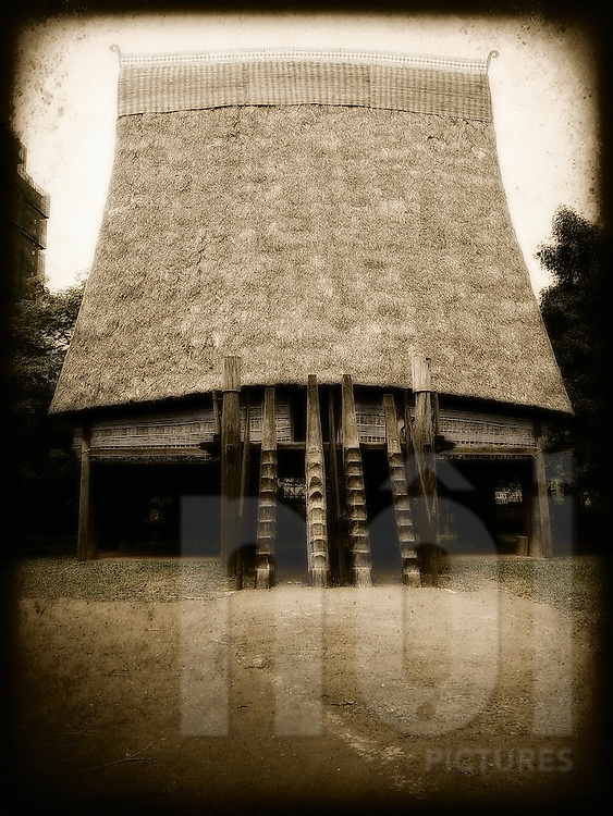 Architecture of a Sedang communal house in Vietnam museum of Ethnology, Hanoi, Southeast Asia