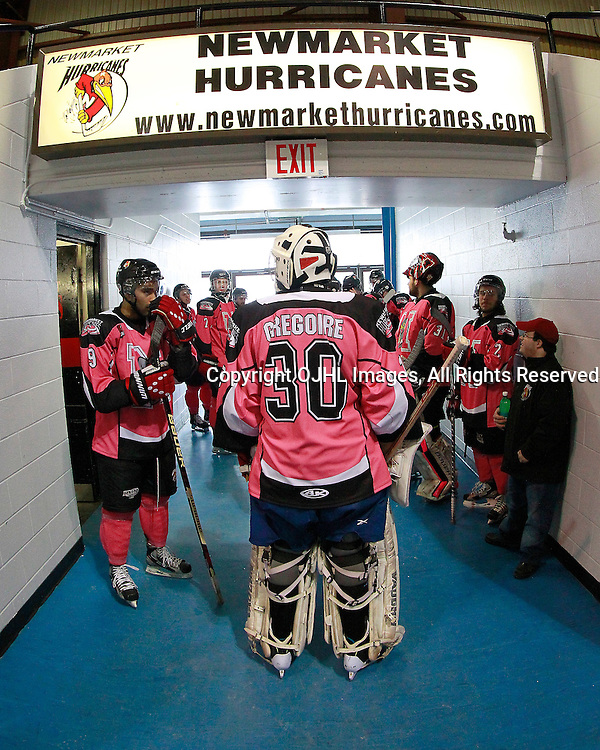 NEWMARKET, ON - Feb 9 : Ontario Junior Hockey League Game Action between the St. Michaels Buzzers and the Newmarket Hurricanes, Newmarket Hurricanes Hockey Club Pink in the Rink.<br /> (Photo by Brian Watts / OJHL Images)