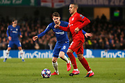 Bayern Munich midfielder Thiago is closed down by Chelsea midfielder Jorginho during the Champions League match between Chelsea and Bayern Munich at Stamford Bridge, London, England on 25 February 2020.