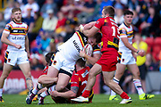 Bradford Bulls James Davies (36) is tackled during the Kingstone Press Championship match between Dewsbury Rams and Bradford Bulls at the Tetley's Stadium, Dewsbury, United Kingdom on 4 June 2017. Photo by Simon Davies.