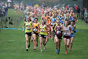 Dec 1, 2018; Portland, OR, USA; Taylor Ewert (21) of Midwest, Emily Covert (17) of Heartlan. Katelynne Hart (26) of Midwest-2, Kelsey Chmiel (121) of Kinetic amd Claire Walters (2) of Manlius run in the girls race during the Nike Cross Nationals at Glendoveer Golf Course.