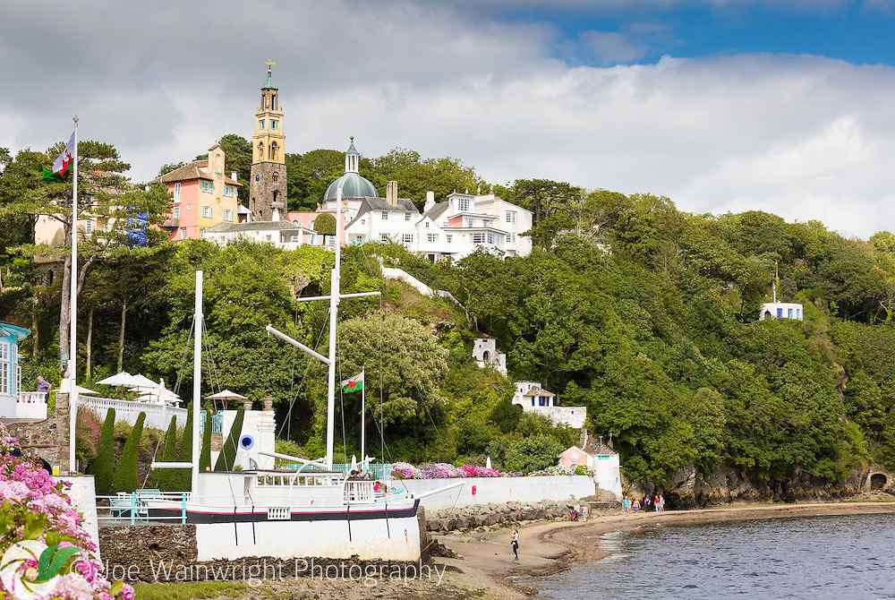 The village and shore at Portmeirion, North Wales, photographed from the Quayside