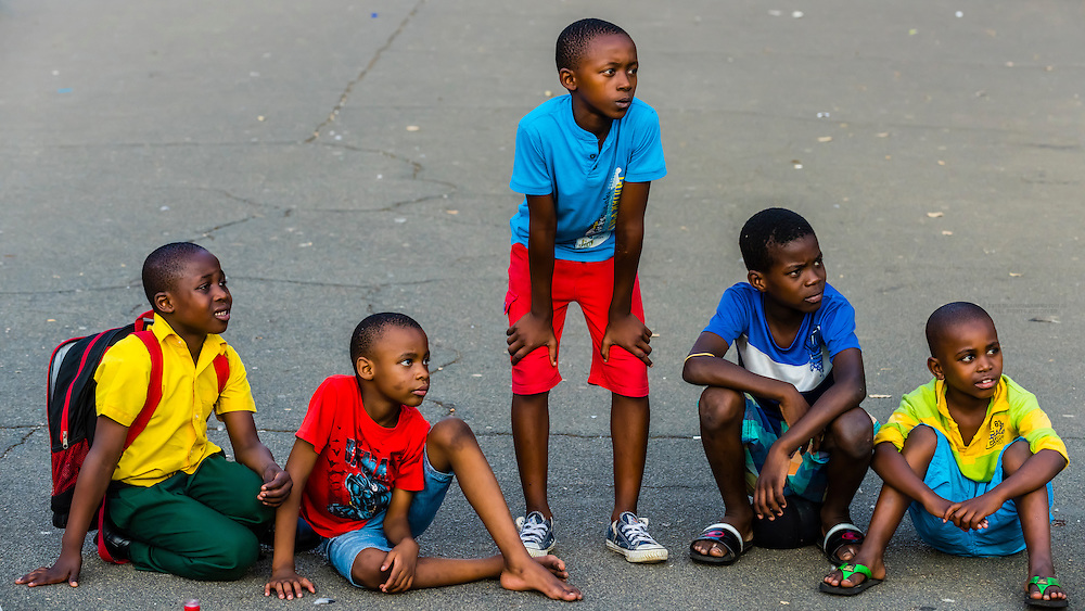 Boys,  Church Sqaure (Kerkplein),  Pretoria (Tshwane), South Africa., South Africa.