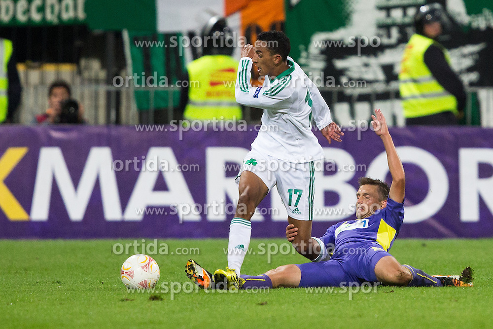 Dejan Mezga of NK Maribor vs Zeca of Panathinaikos during football match between NK Maribor and Panathinaikos Athens F.C. (GRE) in 1st Round of Group Stage of UEFA Europa league 2013, on September 20, 2012 in Stadium Ljudski vrt, Maribor, Slovenia. (Photo By Matic Klansek Velej / Sportida)