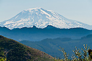 Mount Adams (12,281 feet / 3743 meters) is the second highest peak in Washington, and rises 31 miles east of Mount Saint Helens in the Cascade Range. The dormant volcanic cone of Mount Adams is part of the Pacific Ring of Fire.