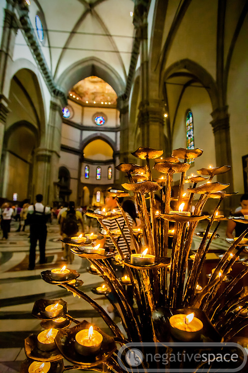 Tea light prayer candles, Duomo, Florence, Italy
