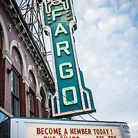Fargo Theatre Sign Photo. The Fargo Theatre was built in 1926 and is on the National Register of Historic Places. The Fargo Theatre is currently a popular venue for films, movies, concerts, plays and other live events. Photo is vertical and was taken in 2011.