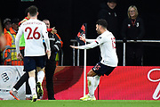Goal - Alex Oxlade-Chamberlain (15) of Liverpool celebrates after he scores a goal to give a 0-1 during the Premier League match between Bournemouth and Liverpool at the Vitality Stadium, Bournemouth, England on 7 December 2019.