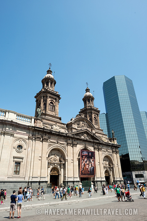 in the Metropolitan Cathedral of Santiago (Catedral Metropolitana de Santiago) in the heart of Santiago, Chile, facing Plaza de Armas. The original cathedral was constructed during the period 1748 to 1800 (with subsequent alterations) of a neoclassical design.