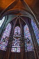 Our Lady of Chartres Cathedral, Chartres, France. Gated private chapel with wonderful stained glass windows and vaulting.