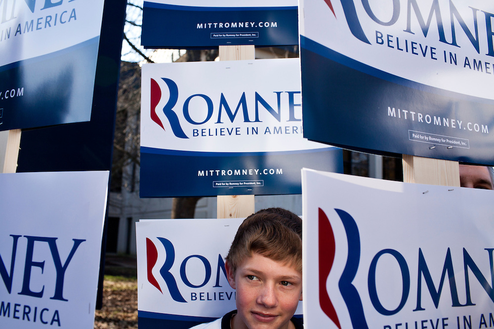 Adam Taylor, 14, attends a campaign rally with Republican presidential candidate Mitt Romney on Wednesday, January 18, 2012 in Spartanburg, SC.