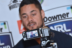 October 26, 2016 - Auckland, Auckland, New Zealand - Jarryd Hayne speaks to the media during  a media conference in Auckland, New Zealand/ Jarryd Hayne is a world class international NRL player, He is announcing he is playing the Downer NRL Auckland Nines next year (Credit Image: © Shirley Kwok/Pacific Press via ZUMA Wire)