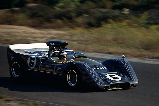 Mark Donohue, winner of this 1968 Bridgehampton Can-Am, in Roger Penske's McLaren M8B-Chevy.