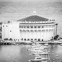 Catalina Casino black and white picture on Santa Catalina Island in Avalon, California. The Catalina Casino is a historic art deco movie theatre built in 1929.