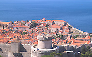 Aerial view the terracotta rooftops and the Minceta Tower part of the city wall around Dubrovnik old town on the Dalmatian Coast of Croatia<br /> c. Ellen Rooney