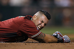 SAN FRANCISCO, CA - APRIL 20: David Peralta #6 of the Arizona Diamondbacks reacts after getting hit by a pitch against the San Francisco Giants during the ninth inning at AT&T Park on April 20, 2016 in San Francisco, California. The Arizona Diamondbacks defeated the San Francisco Giants 2-1. (Photo by Jason O. Watson/Getty Images) *** Local Caption *** David Peralta