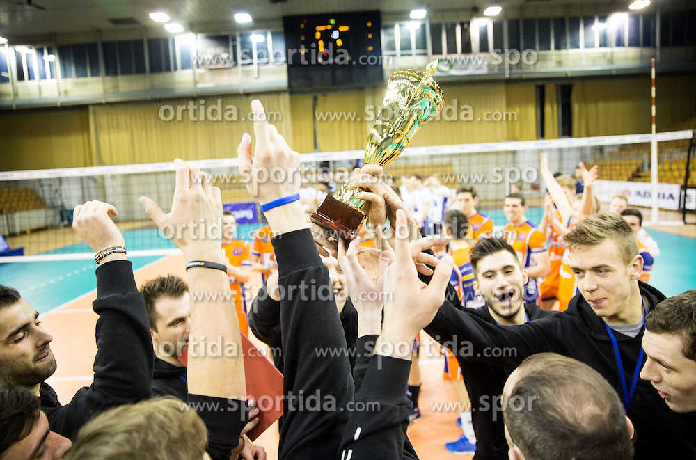 Third placed players of Calcit Volleyball Kamnik at trophy ceremony after the volleyball match between Hypo Tirol Innsbruck and OK ACH Volley in Final of MEVZA Cup Men -Final Four, on March 12, 2016 in Hala Tivoli, Ljubljana, Slovenia. Photo by Vid Ponikvar / Sportida