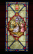 Nativity scene on stained glass window in Victory Lutheran Church. Minneapolis Minnesota USA