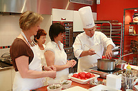 "Lenotre Ecole Culinaire, Paris,..short course - ""Return to the Market"" with Chef Jacky Legras..working with tomatoes for the confite...photo by Owen Franken for the NY Times..July 12, 2007......."