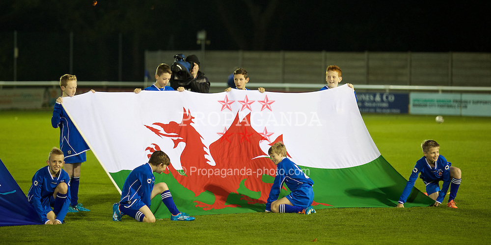 BANGOR, WALES - Friday, October 31, 2014: Flag bearers before the Under-16's Victory Shield International match between Wales and England at the Nantporth Stadium. (Pic by David Rawcliffe/Propaganda)