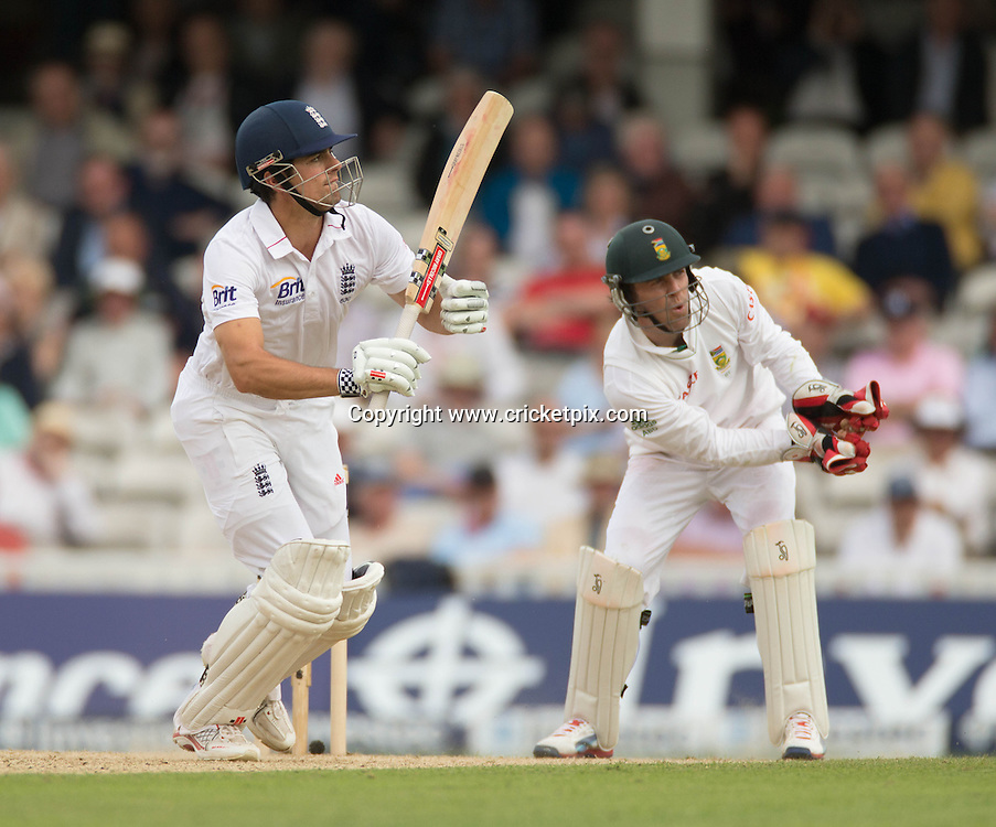 Alastair Cook bats during the first Investec Test Match between England and South Africa at the Brit Oval, London. Photo: Graham Morris (Tel: +44(0)20 8969 4192 Email: sales@cricketpix.com) 19/07/12