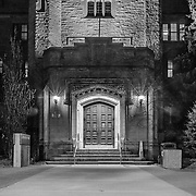 Johnston hall is an iconic feature on campus at University of Guelph.  The door is illuminated offering this beautiful scene.  Photo by Patrick Younger