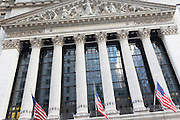 The Stock Exchange building at Wall Street and Broad Street, New York, USA