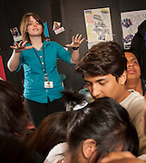 Chelsea Curto works with her theater class at Sam Houston High School, April 25, 2013.