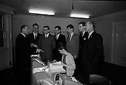 6/3/1965<br /> 3/6/1965<br /> 6 March 1965<br /> <br /> Photo shows J.J Jones Decribing the data processing equipment to Hugh O'Donnell, Robert Keeman, Patrick Manning, Ian Phillips, Anthony Neville and Brendan O'Connor, the operator is Miss Hughes