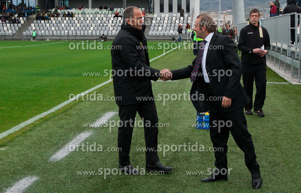 Darko Milanic of Maribor and Milivoj Bracun of Koper during football match between NK Luka Koper and NK Maribor of 27th Round of PrvaLiga, on April 1, 2012, in Bonifika stadium, Koper, Slovenia. (Photo by Vid Ponikvar / Sportida.com)