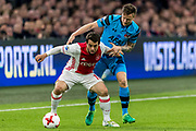 AMSTERDAM - 05-04-2017, Ajax - AZ, Stadion Arena, Ajax speler Amin Younes, AZ speler Mattias Johansson