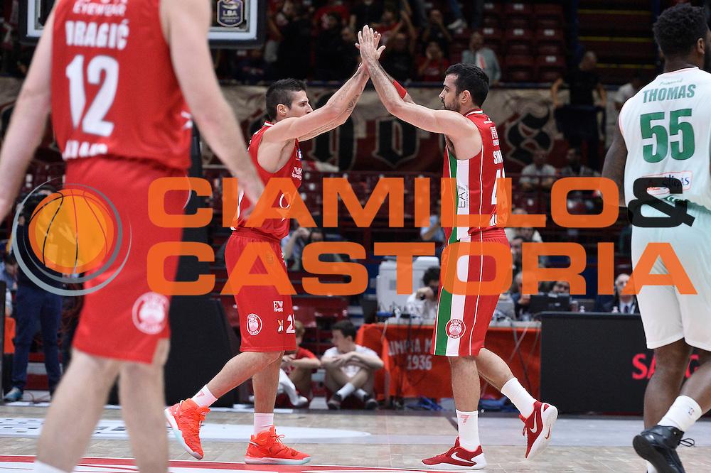 esultanza Simon Krunoslav<br /> EA7 Emporio Armani Olimpia Milano - Sidigas Avellino<br /> LegaBasket 2016/2017<br /> Milano 09/10/2016<br /> Foto Ciamillo-Castoria