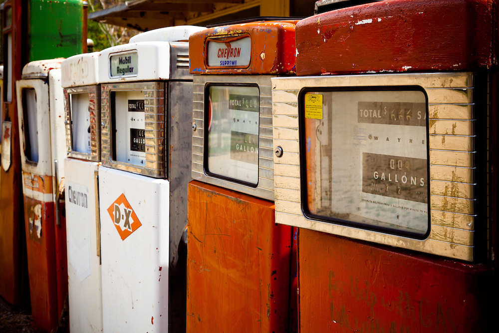 Old gas pumps at Classical Gas. Near Taos, New Mexico.