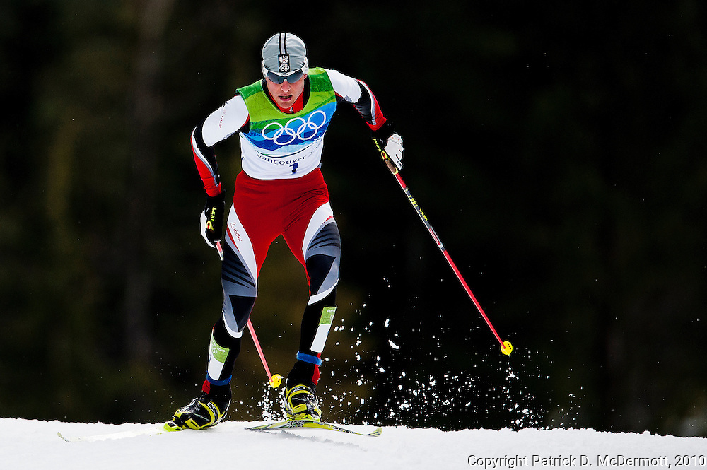 Bernard Gruber, AUT, competes in the Men's Individual Nordic Combined Large Hill/10km race during the 2010 Vancouver Winter Olympics in Whistler, British Columbia, Thursday, Feb. 25, 2010. Gruber won the bronze medal with his third place finish.