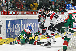 12.12.2014, Curt Fenzel Stadion, Augsburg, GER, DEL, Augsburger Panther vs Koelner Haie, 26. Runde, im Bild l-r: im Zweikampf, Aktion, mit Steffen Toelzer #13 (Augsburger Panther), Philip Gogulla #87 (Koelner Haie) // during Germans DEL Icehockey League 26th round match between Augsburger Panther vs Koelner Haie at the Curt Fenzel Stadion in Augsburg, Germany on 2014/12/12. EXPA Pictures © 2014, PhotoCredit: EXPA/ Eibner-Pressefoto/ Kolbert<br /> <br /> *****ATTENTION - OUT of GER*****