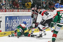 12.12.2014, Curt Fenzel Stadion, Augsburg, GER, DEL, Augsburger Panther vs Koelner Haie, 26. Runde, im Bild l-r: im Zweikampf, Aktion, mit Steffen Toelzer #13 (Augsburger Panther), Philip Gogulla #87 (Koelner Haie) // during Germans DEL Icehockey League 26th round match between Augsburger Panther vs Koelner Haie at the Curt Fenzel Stadion in Augsburg, Germany on 2014/12/12. EXPA Pictures © 2014, PhotoCredit: EXPA/ Eibner-Pressefoto/ Kolbert<br /> <br /> *****ATTENTION - OUT of GER*****