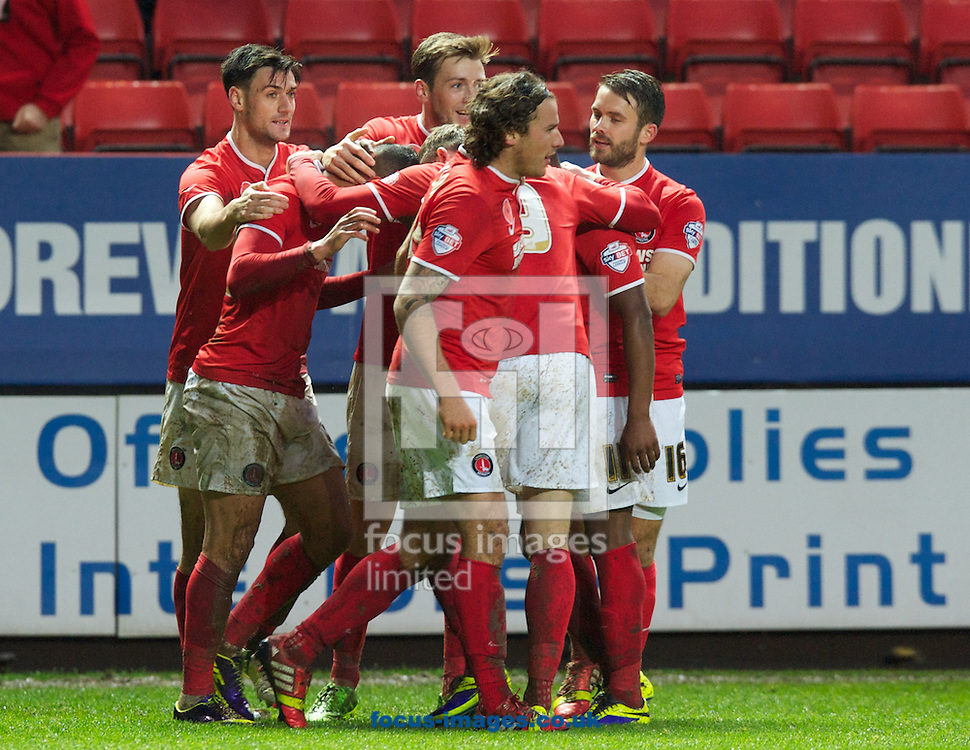 Picture by Alan Stanford/Focus Images Ltd +44 7915 056117<br /> 09/11/2013<br /> Charlton Athletic players celebrate their equaliser during the Sky Bet Championship match at The Valley, London.