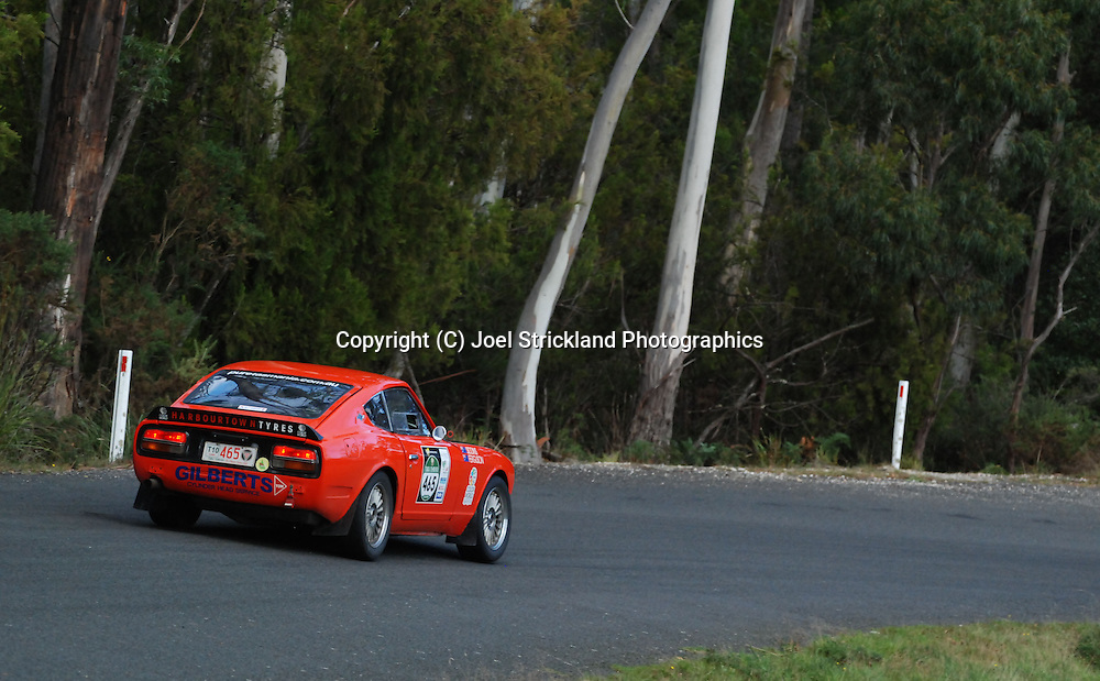 #465 - Jon Siddins & Darren Ferguson - 1970 Datsun 240Z.Day 3.Targa Tasmania 2010.30th of April 2010.(C) Joel Strickland Photographics.Use information: This image is intended for Editorial use only (e.g. news or commentary, print or electronic). Any commercial or promotional use requires additional clearance.